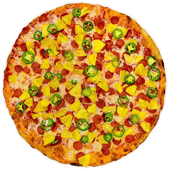 Pepperpineapeño - Pepperoni, big slices of fresh pineapple + fresh jalapeño peppers on a tomato base
