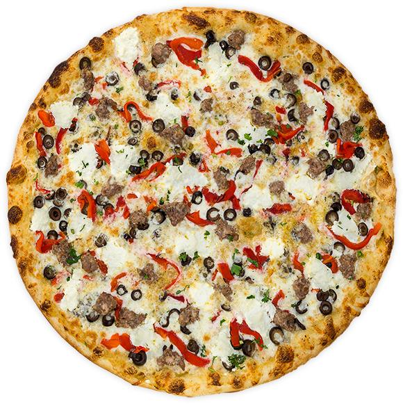 Brooklyn - Garlic parmesan sauce, Italian sausage, black olives, roasted red pepper + ricotta