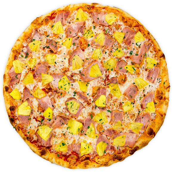 Ham + Fresh Pineapple - Smoked ham + fresh, hand-cut pineapple on a rich marinara base