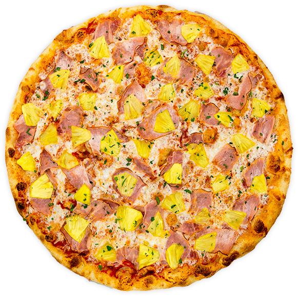 Ham + Fresh Pineapple - Smoky ham + fresh, hand-cut pineapple on a tomato base
