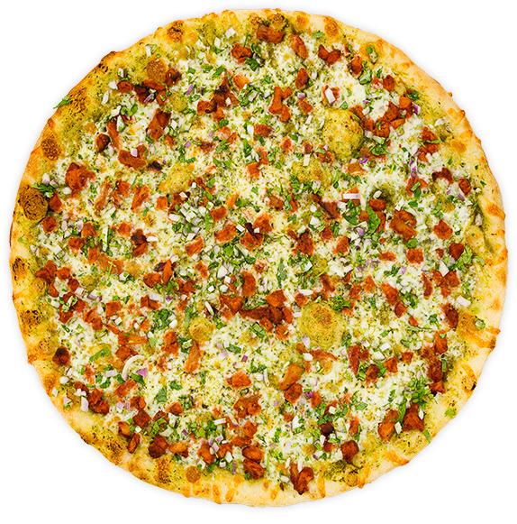 Al Pastor 2.0 - pork loin, pineapple + onion cilantro garnish on a cilantro pesto base