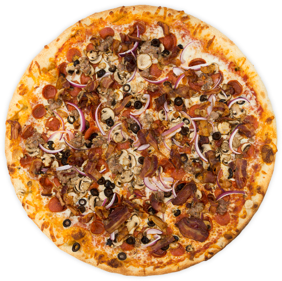 Omnivore Bliss - Pepperoni, Italian sausage, bacon, onions, black olives, mushrooms, + chopped garlic on a rich marinara base