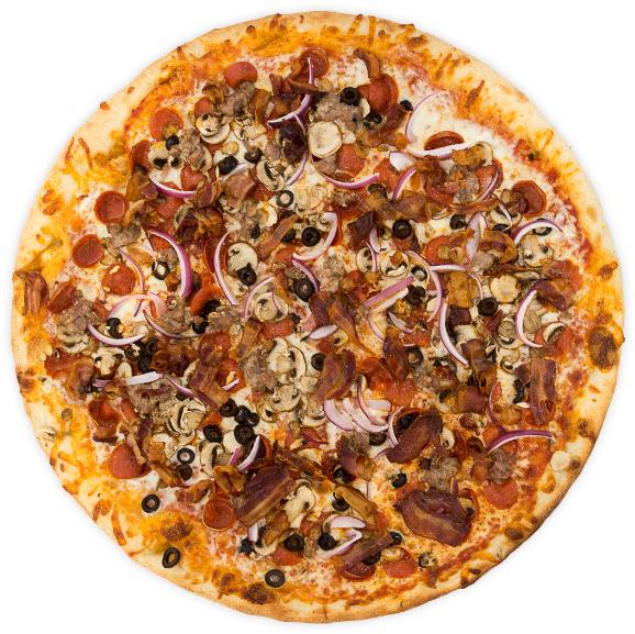 Omnivore Bliss - Pepperoni, Italian sausage, bacon, onions, black olives, mushrooms, + chopped garlic on a tomato base$13 / $22 / $31