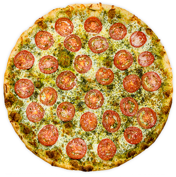Tomato + Basil Pesto - Sliced tomatoes, parmesan + mozzarella on a local basil pesto base