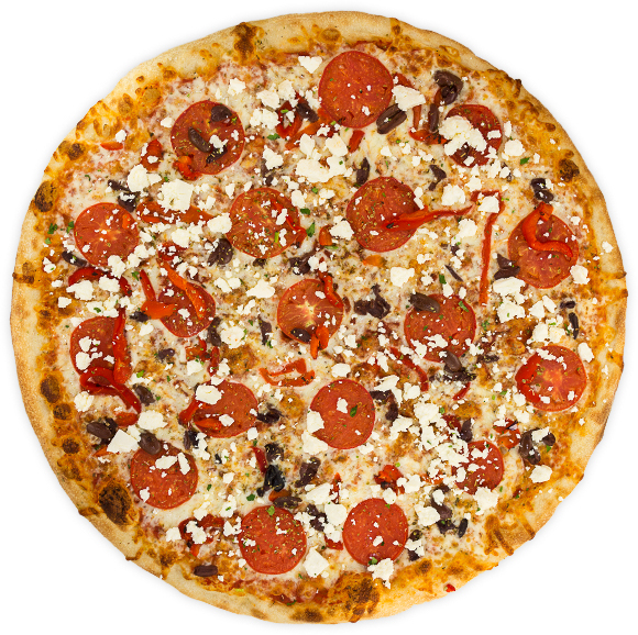 Greek - Tomatoes, feta cheese, kalamata olives, roasted red pepper, + oregano on a tomato base