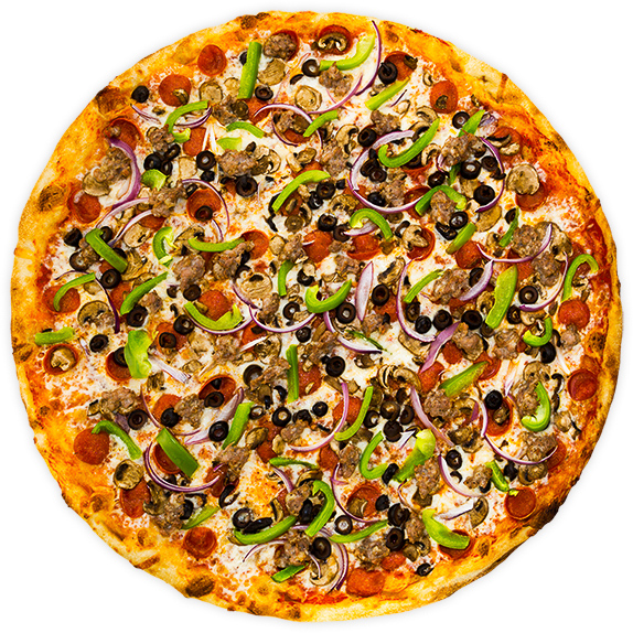 Supreme - Pepperoni, sausage, sliced button mushrooms, onions, black olives + green peppers on a tomato sauce base$12 / $19 / $28