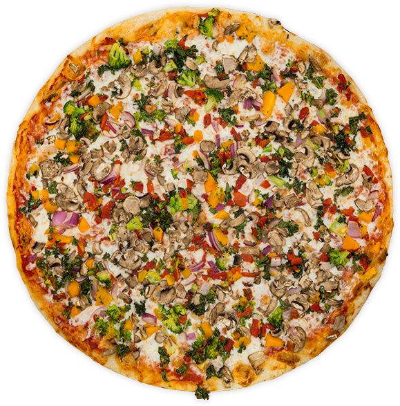 Veggie Supreme - Onion, kale, roasted red peppers, broccoli, squash, mushrooms + mozzarella on a tomato sauce base$11 / $18 / $26