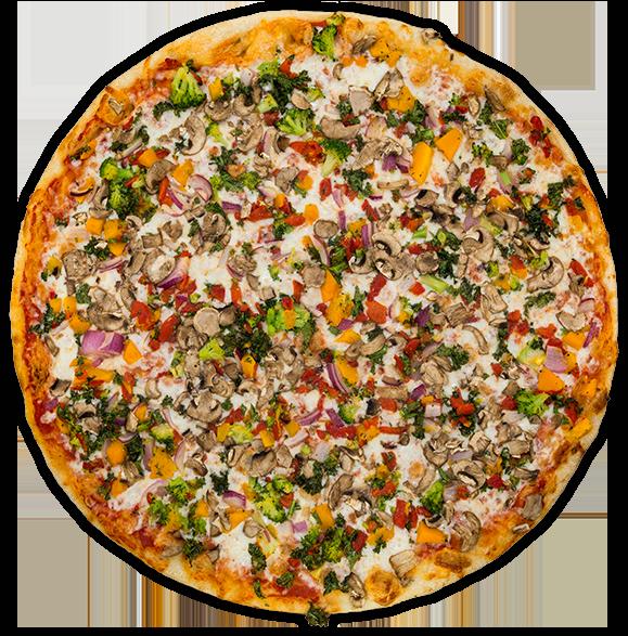 Veggie Supreme - Onion, kale, roasted red peppers, broccoli, squash, mushrooms + mozzarella on a tomato sauce base$11 / $18 / $26