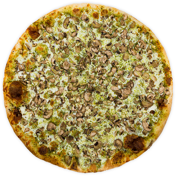 Mushroom + Basil Pesto - House-made basil pesto, aged mozzarella, sliced button mushrooms + chopped garlic$10.50 / $18 / $25