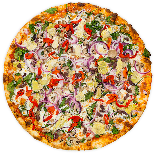 Veggie Nirvana - Roasted red pepper, onion, artichoke hearts, kalamata olives, spinach, mushrooms, garlic + mozzarella on a marinara base