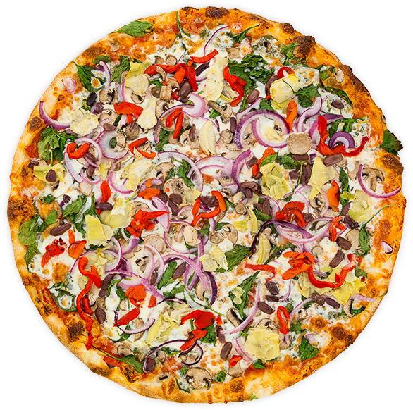 Veggie Nirvana - Artichoke hearts, kalamata olives, spinach, chopped garlic, onions, mushrooms + roasted red pepper on a tomato base$13 / $22 / $31