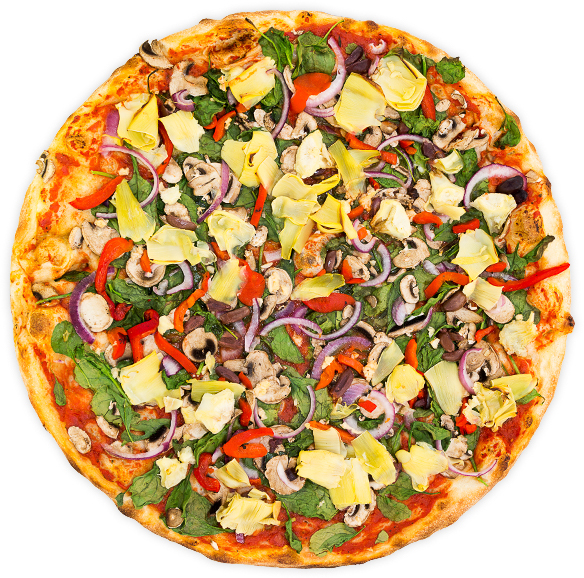 Vegan Nirvana - Roasted red pepper, onion, artichoke hearts, kalamata olives, spinach, mushrooms + garlic on a marinara base