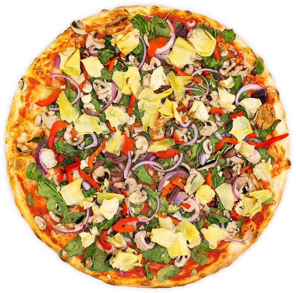 Vegan Nirvana - Roasted red pepper, onion, artichoke hearts, kalamata olives, spinach, mushrooms + garlic on a tomato base