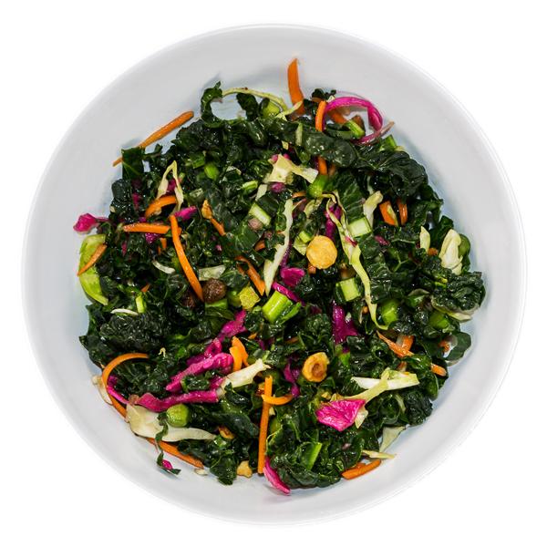 Kaleslaw Salad - VEGANFresh kale, savoy cabbage, carrots, hazelnuts + raisins$7.50