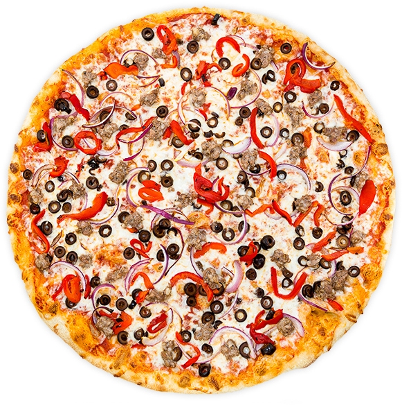 Italian Combo - House Italian sausage, roasted red pepper, black olives + onion on a tomato base