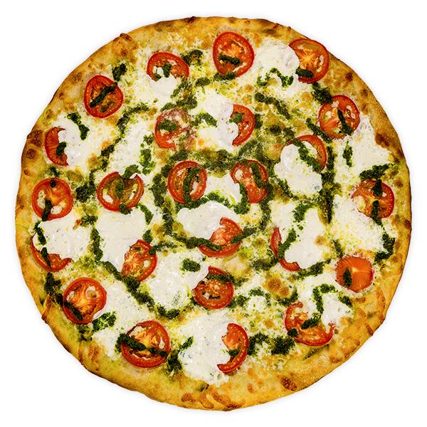 Margherita - Sliced tomato, fresh mozzarella, parmesan + fresh local basil pesto on an olive oil base