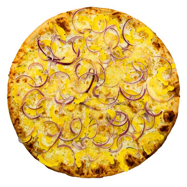 Delicata Squash + Cheddar - Delicata squash, aged mozzarella, onions + cheddar cheese on an olive oil base
