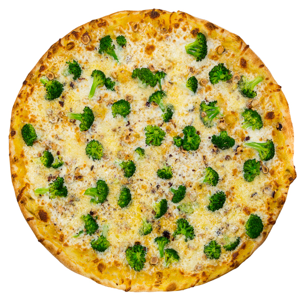 Broccoli + Cheddar - Tillamook cheddar, fresh broccoli + Oregon hazelnuts on a squash sauce base