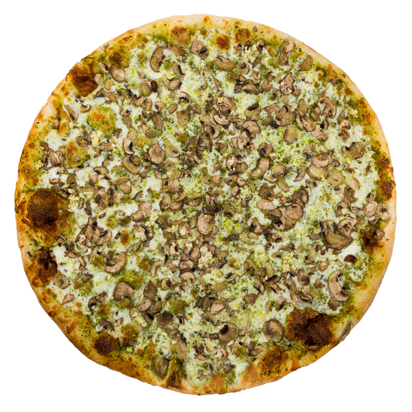 Mushroom + Basil Pesto - Basil pesto, aged mozzarella, sliced button mushrooms + chopped garlic