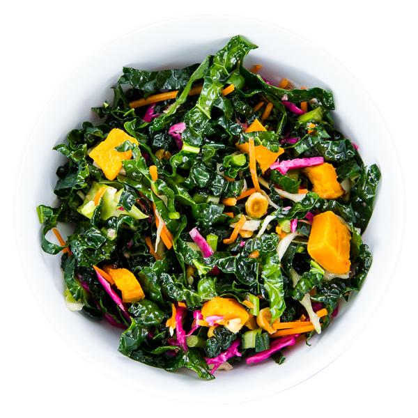 Kaleslaw Salad - VEGAN Fresh kale, butternut squash, savoy cabbage, carrots + hazelnuts$7.50