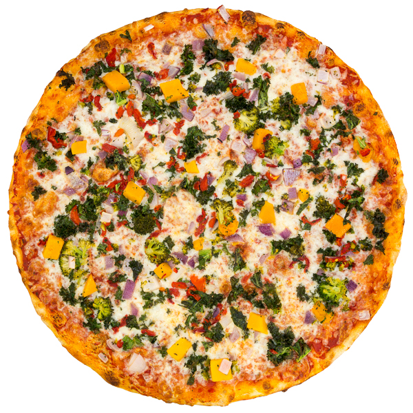 Veggie Supreme - Freshly diced veggies including onion, kale, roasted red peppers, broccoli, squash + mozzarella on a rich marinara base