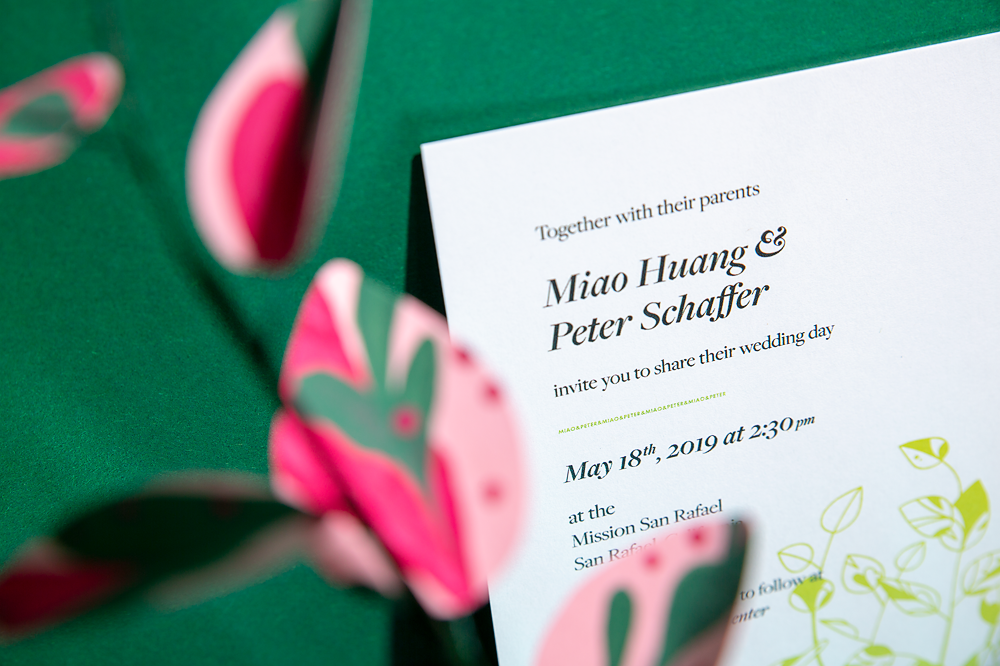 Ephemora's Ficus invitation uses a modern, conversational format for the event's date and time.