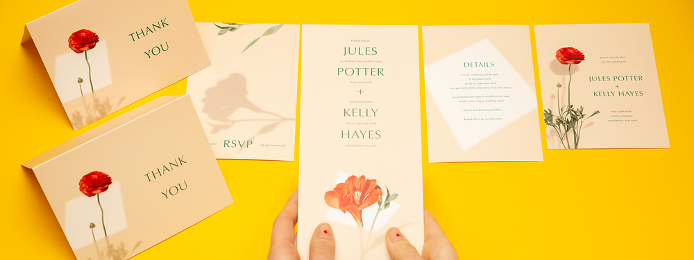 Ephemora's elegant Flor stationery suite, featuring floral photography and gentle shadows.