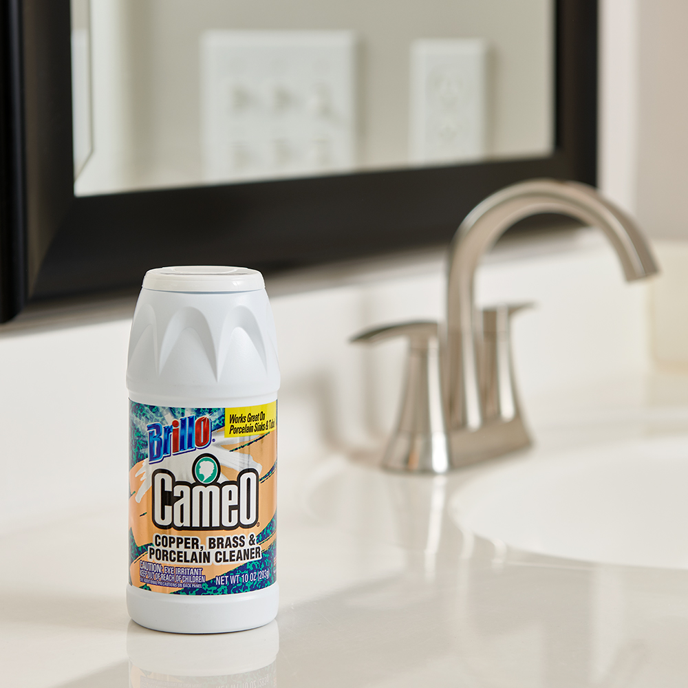Brillo® Cameo® - Copper, Brass & Porcelain Cleaner on sink