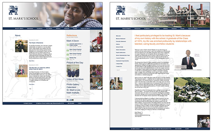 Proposed website layouts for St. Mark's School.