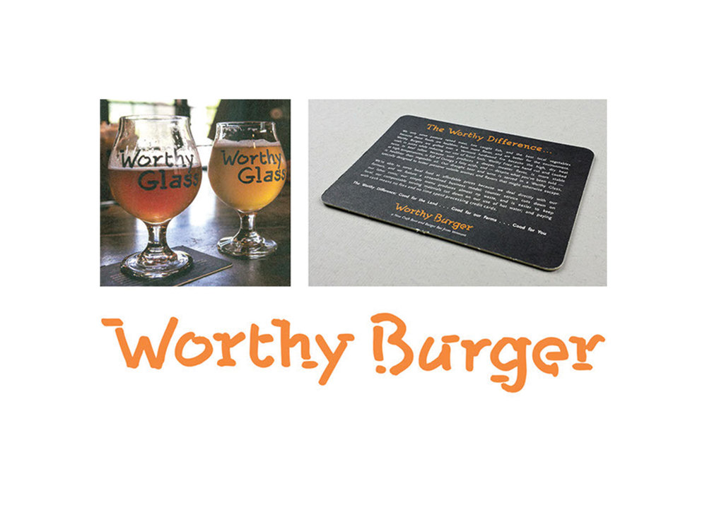 Worthy Burger is a craft beer and burger bar in South Royalton, Vermont. Douglas Harp hand-drew three to four versions of every letter, number, etc., in order to create a font that is unique to this client.
