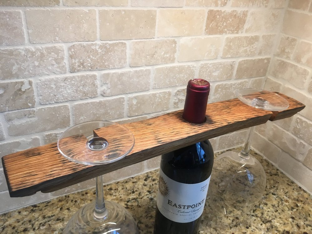 Wine Barrel Stave Bottle And Glass Holder Slightly Crooked Workshop