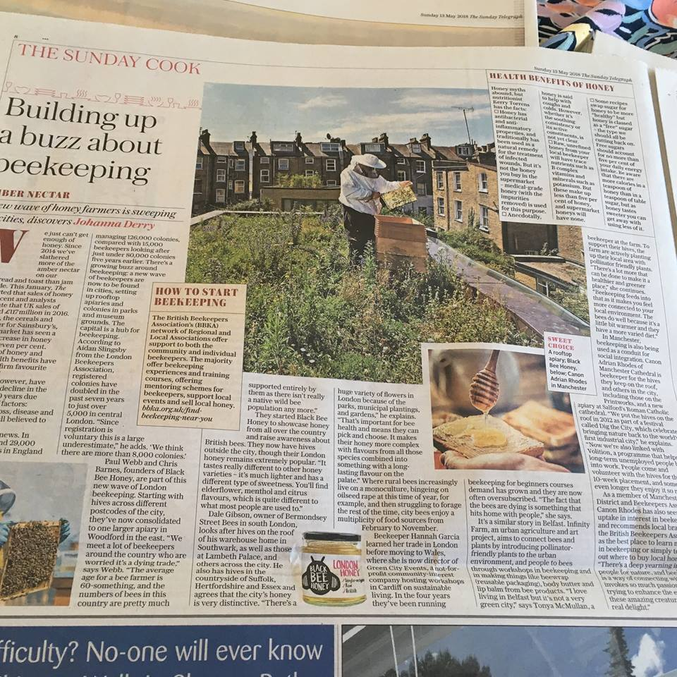 Building a buzz about Beekeeping - Sunday Telegraph article 'Building up a Buzz about Beekeeping' Infinity Farm co founder talks about the work we do and the benefits to be gained for BelfastInfinity Farm - an urban agriculture and art project, aims to connect bees and plants by introducing pollinator friednly plants to urban environment, and people to bees through workshops in making things like beewrap (reusable packaging), body butter and lip balm from bee by products. 'I love living in Belfast but it could be a greener city' says Tonya McMullan, a beekeeper at the farm. To support their hives Infinity Farm are activly planting up their local area with pollinator friendly plants 'there is a lot more that can be done to make Belfast greener and healthier city' she continues, 'Beekeeping feeds into that as it makes you feel more connected to the environment. The bees also do well in cities because it is a little bit warmer and they have a more varied diet'Sunday 13th May 2018 - telegraph.co.uk