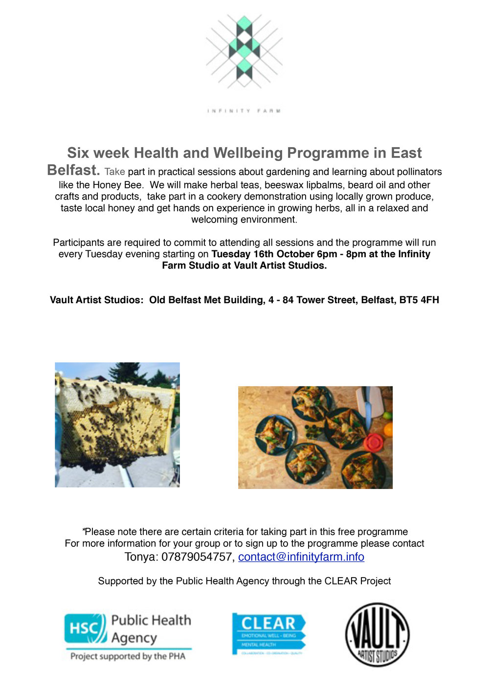 Interested in volunteering? - We are looking for volunteers to help out at the upcoming Health and Wellbeing programme taking place at Vault Studios, please get in touch if you are interested: contact@infinityfarm.info