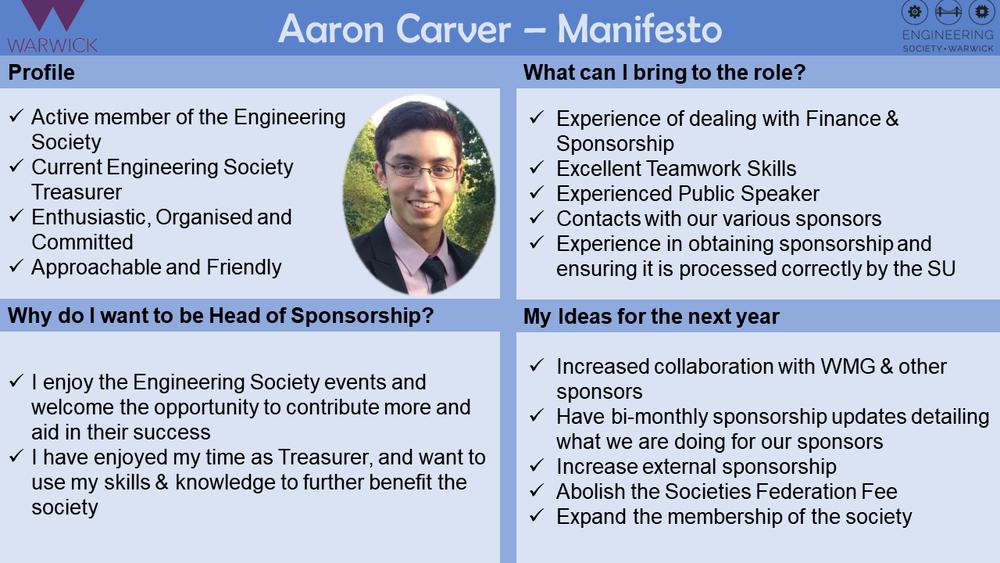 Aaron Carver (Head of Sponsorship 2018-2019)