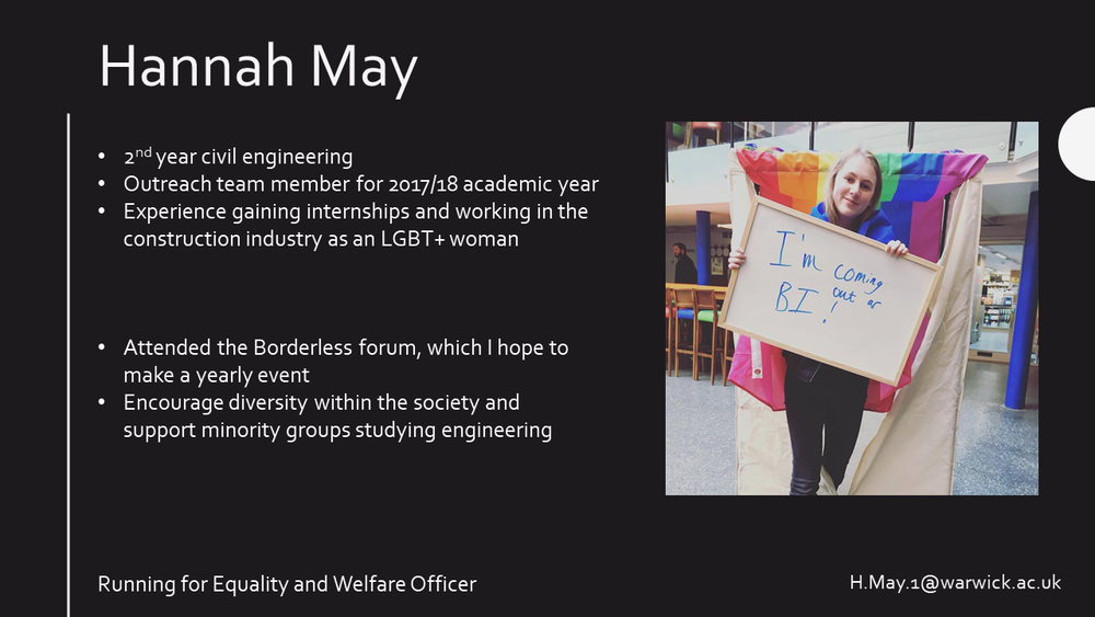Hannah May (Conference Director & Head of Equality and Welfare 2018-2019)