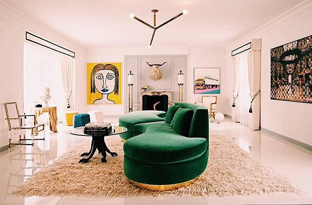 T H € • U N € X P € C T € D 💚       this space is abstract + unexpected in all the right ways + I'm gonna need that couch ASAP | design cred: @jrummerfield @rwoodson . . . . . #unexpected #abstract #whitewalls #tallceilings #allthefeels #homegoals #designinspiration #design #homeideas #homedecor #tresorcru #vintage #vintagestyle #midcentury #midcenturymodern #mcm #eclectic #homegoals #decor #shopvintage #betterthannew #style #chandelier #lucite #hollywoodregency #livingroom