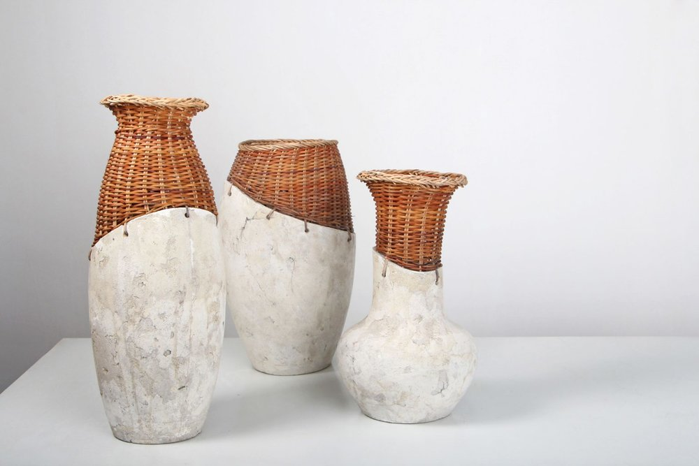 """""""Vases ciment""""   Grégoire Abrial - Ciment, rotin - Commande du Hanoï design center, Vietnam 2014"""