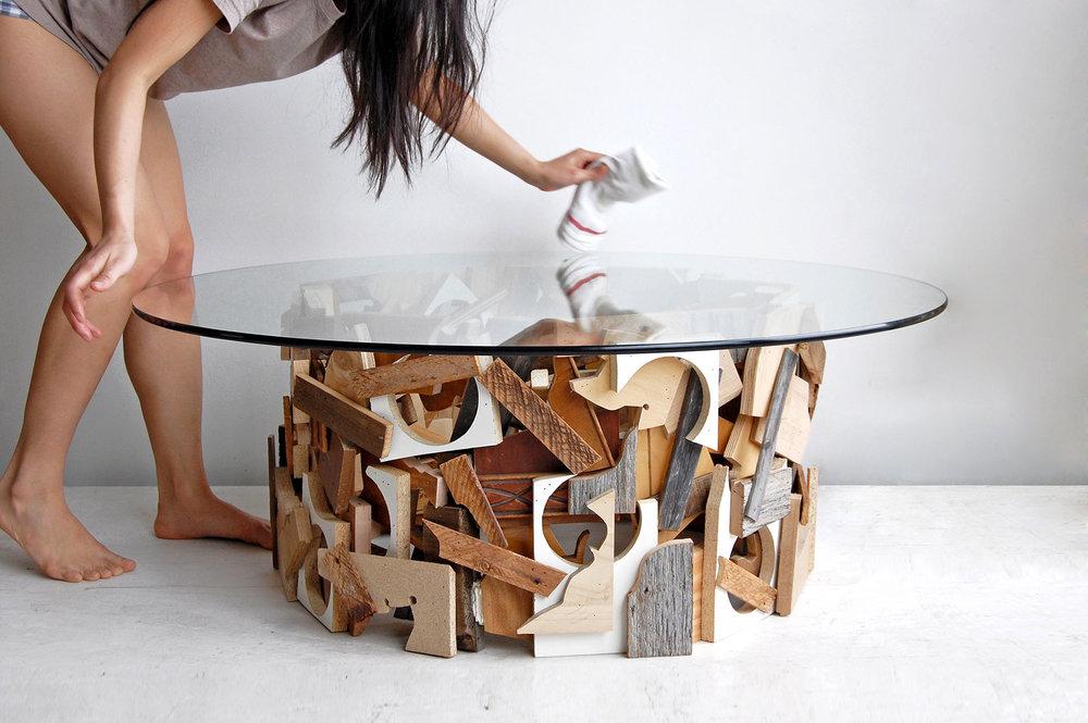"""""""Table de découpes""""   Grégoire Abrial - Découpes de panneaux de bois et verre Upcyclées /  Photo : Brett Wood"""