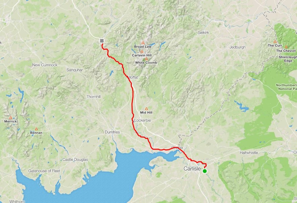 "Day 11 - ""A long and varied day…""Wet start as Alex crossed the border, drying up in the afternoon as we cycled North towards Beattock on back roads before joining the service road again from Beattock to Abington.Distance: 114.4 km Moving time: 5:52:37  Ave Speed: 19.5 km/h"