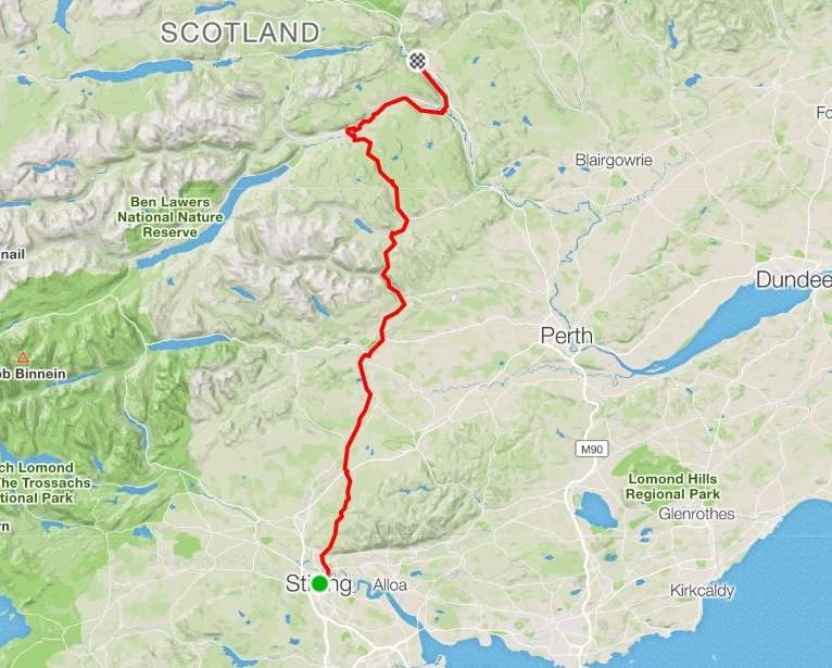 """Day 14 - """"Great to see Keith and on a solo bike, for a change""""A super ride from Stirling to Pitlochry avoiding the A9 accompanied by an old friend Kieth. A day of three halves with cool weather most of the climbing done up to Sherrifmuir.Distance: 98.07 km Moving Time: 6:11:00 Elevation Gain: 1420m"""