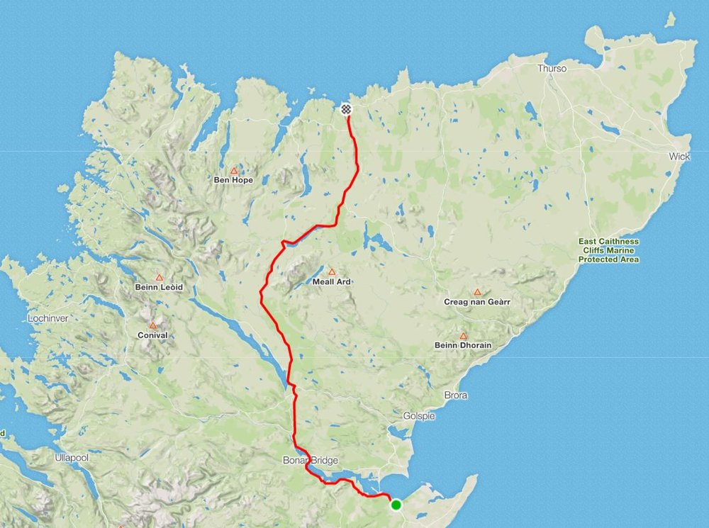 Day 17 - The end is in sight! Alex has made it to the North coast, with one final push to get to both the most Northern point of Scotland and to John o'Groats tomorrow.Distance: 113.03 km Time: 6:01:46 Elevation Gain: 777 m