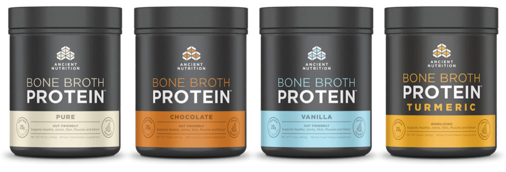 Ancient Nutrition Bone Broth   It's a breakthrough in protein supplementation that delivers the benefits of homemade bone broth in a convenient, easy-to-mix form. Try all eight flavors.