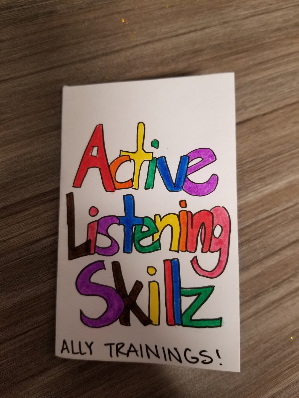 Zine on Active Listening Skills - Made by SafeZones@SDSU intern Maria in 2018Click here to download