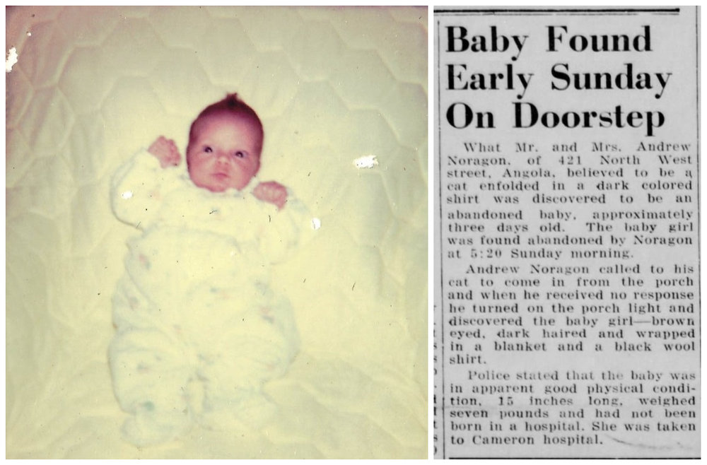 """Beth at 3 weeks old and the front page newspaper article announcing her """"foundling"""" beginnings. Courtesy of Beth Steury."""