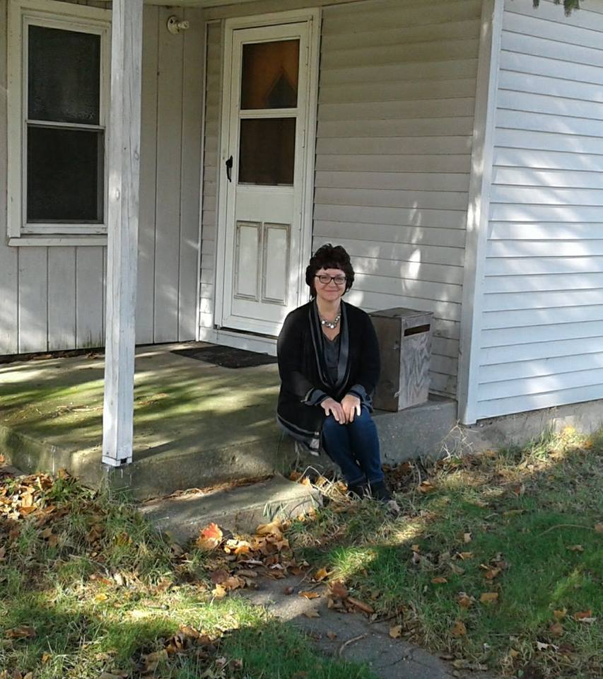 Beth Steury visits the site of the doorstep where she was found early one morning just after she was born. Photo courtesy of Beth Steury.