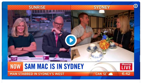 Weather segment with Sam Mac on Sunrise, June 2018