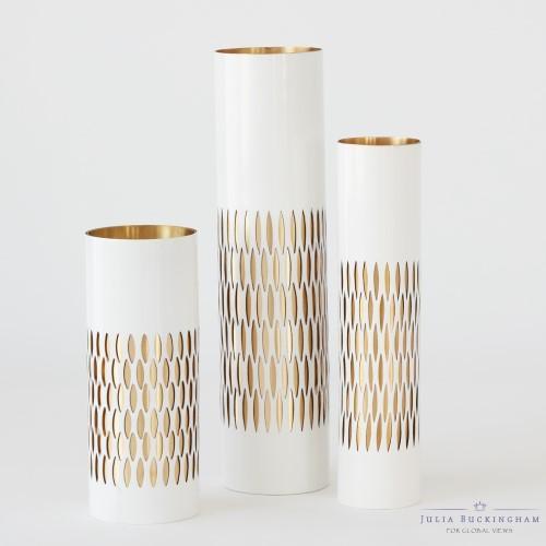 Julia Buckingham For Global Views Bracelet Vase White Enamel And