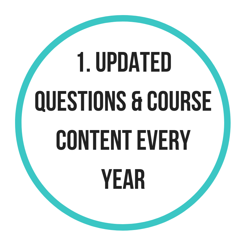 Once a question type is replaced, it's never used again. - Save time and prepare right by learning with the most updated teachings, advice and resources.