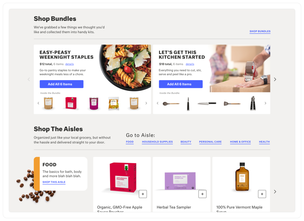 "The ""shop all"" page acts as a summary view of the different categories of products offered. It also introduces the idea of ""kits"" that allow the user to add various items at once to their basket."