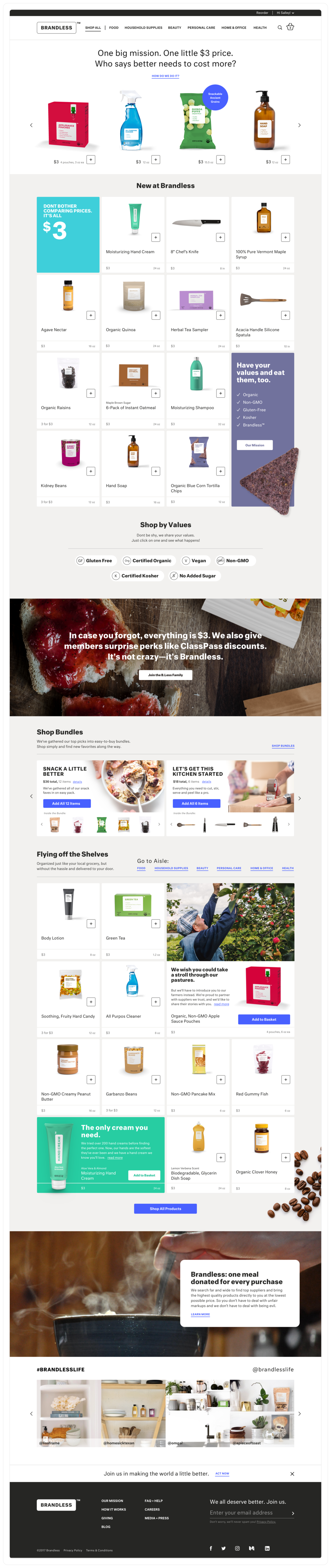 The home page re-uses components from the the category landing page and also allows customers to explore more about the brand and membership.
